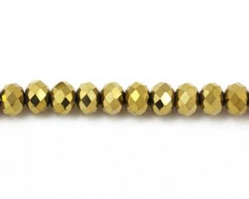 Glasschliffperlen gold, 8 mm, Rondellen facettiert, 50 Perlen