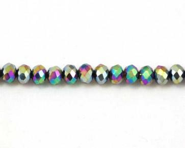 Glasschliffperlen, 6mm, Rondellen facettiert, mehrfarbig, 50 Perlen