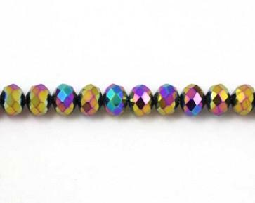 Glasschliffperlen, Rondellen facettiert, 8mm, mehrfarbig bunt