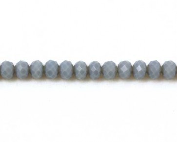 Glasschliffperlen, 6mm, Rondellen facettiert, grau opak, 50 Perlen