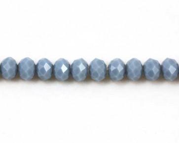Glasschliffperlen, Rondellen facettiert, 8mm, blau-grau, 50 Perlen