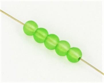 Gefrostete Glasperlen, 4mm, rund, matt grün, 100 Glasperlen