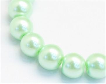 Glaswachsperlen, Glasperlen, 8 mm, rund, hell minzgrün, 50 Perlen