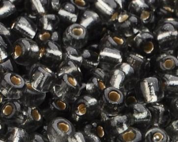 Rocailles Glasperlen, Saatperlen, 4mm, grau transparent mit Silbereinzug, 20 g