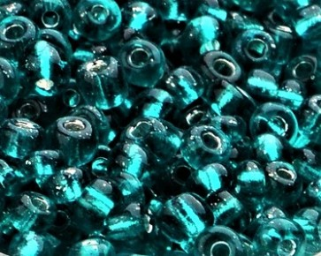 Rocailles Glasperlen, Saatperlen, 4mm, smaragdgrün transparent mit Silbereinzug, 20 g
