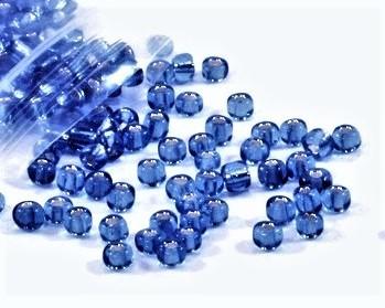 Rocailles Glasperlen, Saatperlen, 4mm, royalblau transparent mit Silbereinzug, 20 g