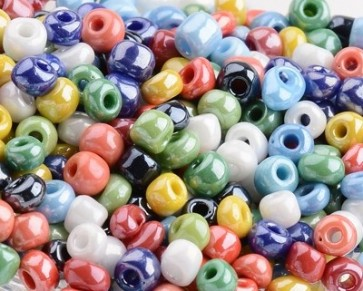 Rocailles Glasperlen, Saatperlen, 4mm, Farbmix mit Lüster, 20g