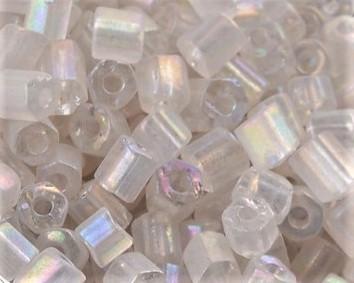 Eckige Rocailles Perlen, Saatperlen, 4mm, Hexagon, transparent weiss irisierend, 20 g