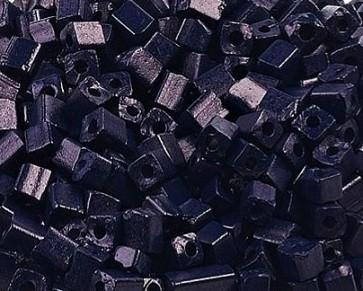 Eckige Rocailles Perlen, Saatperlen, 4mm, Würfel, opak dunkelblau, 20g