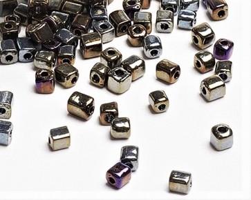 Eckige Rocailles Perlen, Saatperlen, 4mm, Würfel, metallic-Mix opak, 20g