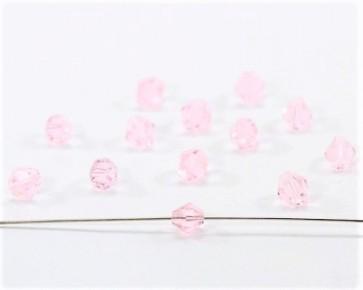 Glasschliffperlen, 4mm, Bicones / Doppelkegel, rosa, 100 Stk.