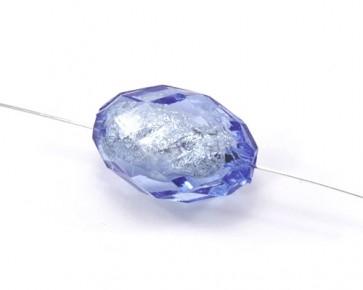 Acrylperlen Bastelperlen transparent oval facettiert 30x20mm hellblau 5 Perlen