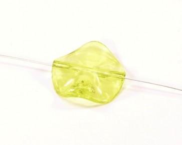 Transparente Acrylperlen, gelb, rund flach, gewellt, 27mm