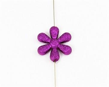 Acrylperlen, Kunststoffperlen Blumen, 25 mm, violett, 15 Bastelperlen