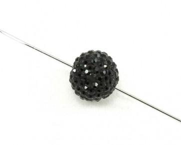 Strass-Perlen, Shamballa Perlen, rund, schwarz, 12 mm, 1 Perle