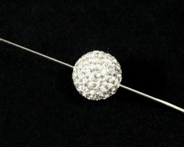 Strass-Perlen, Shamballa Perlen, rund, weiss / klar, 12mm, 1 Perle