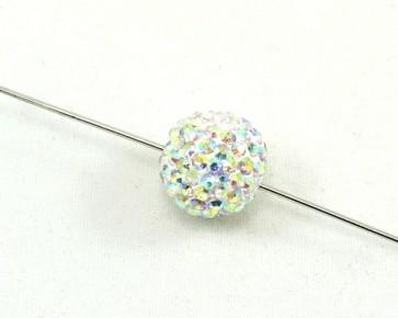 Strass-Perlen, Shamballa Perlen, rund, weiss / kristall klar AB, 12mm, 1 Perle