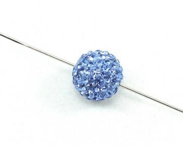 Strass-Perlen, Shamballa Perlen, rund, hellblau, 12 mm, 1 Perle