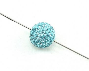 Strassperlen, Shamballa Perlen, rund, türkis, 12 mm, 1 Strassperle
