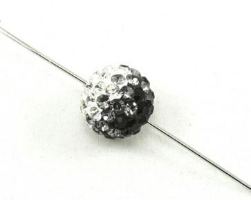 Strassperlen, Shamballa Perlen, rund, schwarz-grau-weiss, 12mm, 1 Perle