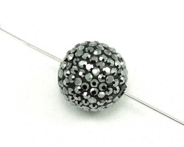 Strass-Perlen, Shamballa Perlen, rund, schwarz-silber, 16mm, 1 Perle