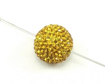 Strassperlen, Shamballa Perlen, rund, gold, 16 mm, 1 Perle