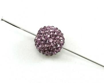 Strassperlen, Shamballa Perlen rund, lila, 10mm, 3 Perlen
