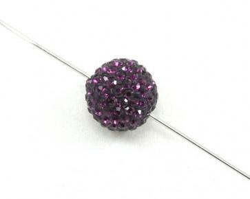 Strassperlen, Shamballa Perlen, rund, amethyst violett, 10 mm, 3 Strasskugeln