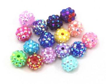 Bastelperlen, Resin Strass Perlen, rund, 10x12mm, Farbmix, 20 Perlen