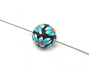 Polymer Clay Perlen, Fimo Perlen, rund, schwarz, Blume türkis, 12mm, 20 Stk.