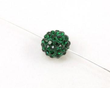 Strassperlen, Shamballa Perlen, rund, dunkelgrün, 10 mm, 3 Stk.