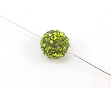 Strassperlen, Shamballa Perlen, rund, olivgrün, 10 mm, 3 Strasskugeln