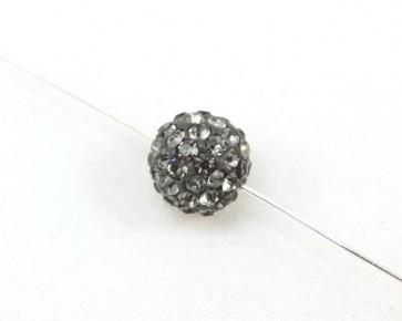 Strassperlen, Shamballa Perlen, rund, silber-grau, 10 mm, 3 Strasskugeln