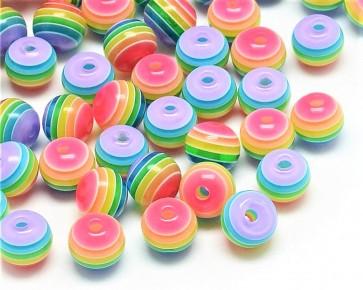 Bunte Resinperlen, rund, 6mm, Regenbogen-Farbmix, bunt gestreift, 100 Stk.