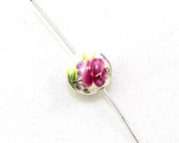 Porzellanperlen, weiss mit Blumen-Muster, rund 12 mm, 10 Perlen