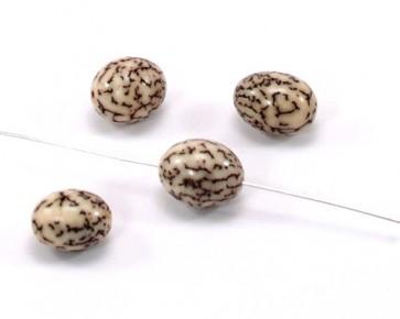 Betelnuss-Perlen, 10 x 15 mm, oval, cremeweiss/braun, 5 Stk.