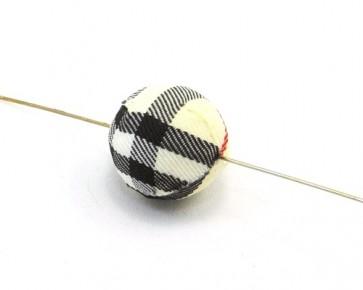 Textilperlen, rund, 20 mm, Tartan creme-schwarz-rot, 5 Perlen