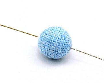 Textilperlen, Stoffperlen, rund, 20 mm, hellblau meliert, 5 Perlen