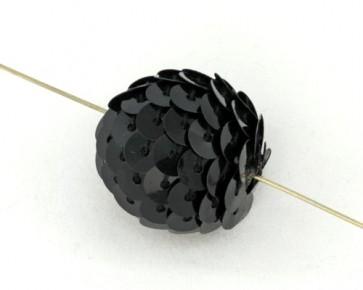 Handgefertigte Perlen, rund, 22mm, schwarz mit Pailletten, 5 Stk