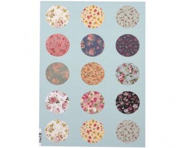 Cabochons Vorlagen Blumen vintage, 20 mm rund, 1 Bogen
