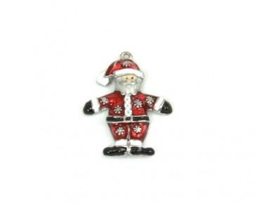 Charms Anhänger, Weihnachtsmann, versilbert, 26 x 22 mm, 1 Stk.