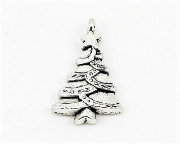 Schmuckanhänger, Weihnachtsbaum, antik versilbert, 15x18mm