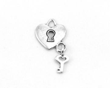 Charms, Herzanhänger mit Schlüssel, antik silberfarbig, 14 mm