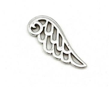 Schmuckanhänger, Metallanhänger, Engelsflügel, silberfarbig, 24 x 9.5 mm, 10 Flügel