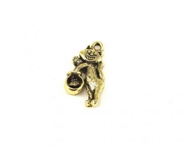 Charms Anhänger, Katze & Fisch, antik goldfarbig, 20x13mm, 1 Stk