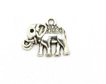 Schmuckanhänger, Elefant, antik silberfarbig, 17x13 mm, 10 Charms