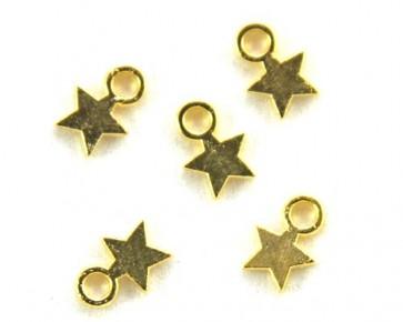 Schmuckanhänger Stern, goldfarbig, 10x8mm, 50 Sternchen
