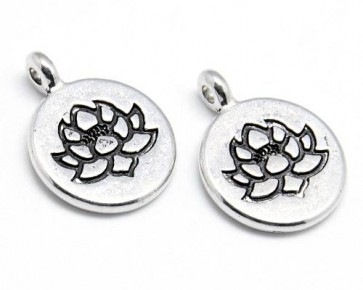 Charms Anhänger, Lotusblüte, antik silberfarbig, Ø 15mm, 10 Stk.
