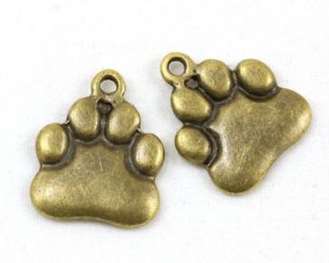 Charms Anhänger, Hundepfoten, antik bronze, 18x15mm, 10 Pfotenanhänger