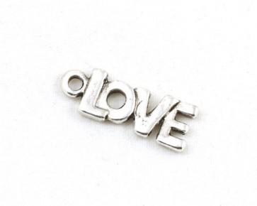 Schmuckanhänger, Love, antik silberfarbig, 22x8mm, 5 Stk.